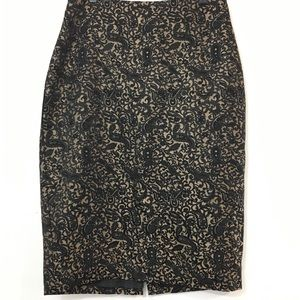 Worthington Gold and Black Brocade Pencil Skirt